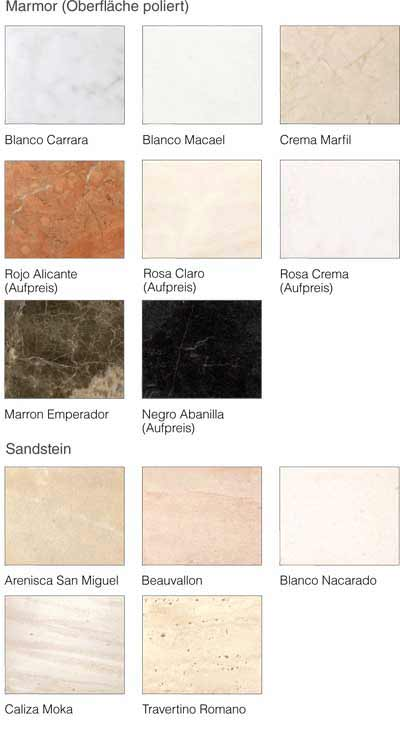 Materialmuster und Oberflächen Camina Serie N Naturstein